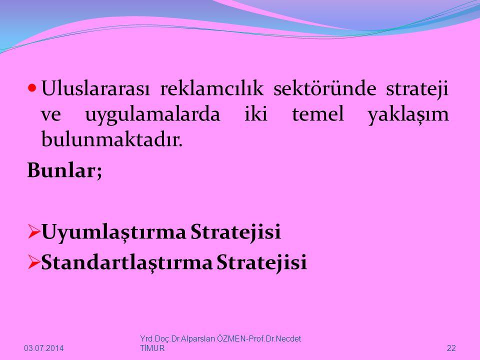 03.07.2014 Yrd.Doç.Dr.Alparslan ÖZMEN-Prof.Dr.Necdet TİMUR 22  Uluslararası reklamcılık sektöründe strateji ve uygulamalarda iki temel yaklaşım bulun
