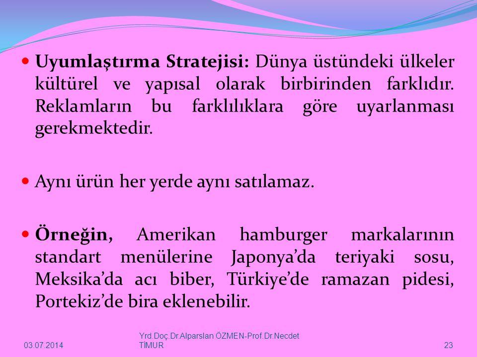 03.07.2014 Yrd.Doç.Dr.Alparslan ÖZMEN-Prof.Dr.Necdet TİMUR 23  Uyumlaştırma Stratejisi: Dünya üstündeki ülkeler kültürel ve yapısal olarak birbirinde