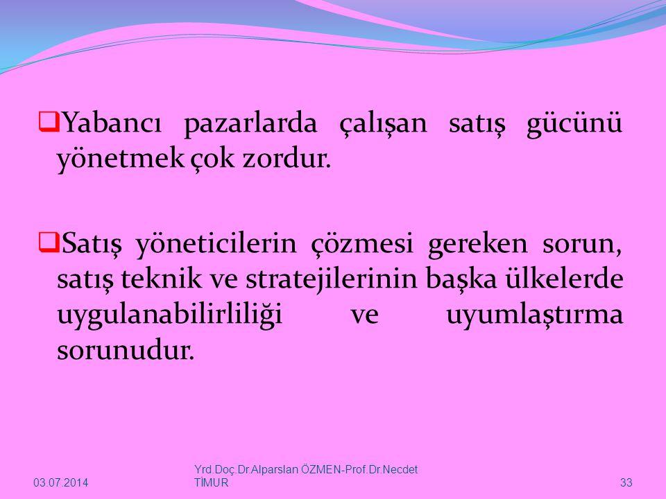 03.07.2014 Yrd.Doç.Dr.Alparslan ÖZMEN-Prof.Dr.Necdet TİMUR 33  Yabancı pazarlarda çalışan satış gücünü yönetmek çok zordur.  Satış yöneticilerin çöz