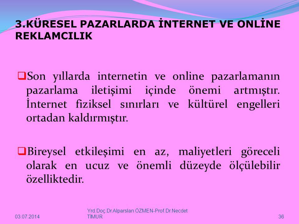 03.07.2014 Yrd.Doç.Dr.Alparslan ÖZMEN-Prof.Dr.Necdet TİMUR 36 3.KÜRESEL PAZARLARDA İNTERNET VE ONLİNE REKLAMCILIK  Son yıllarda internetin ve online pazarlamanın pazarlama iletişimi içinde önemi artmıştır.
