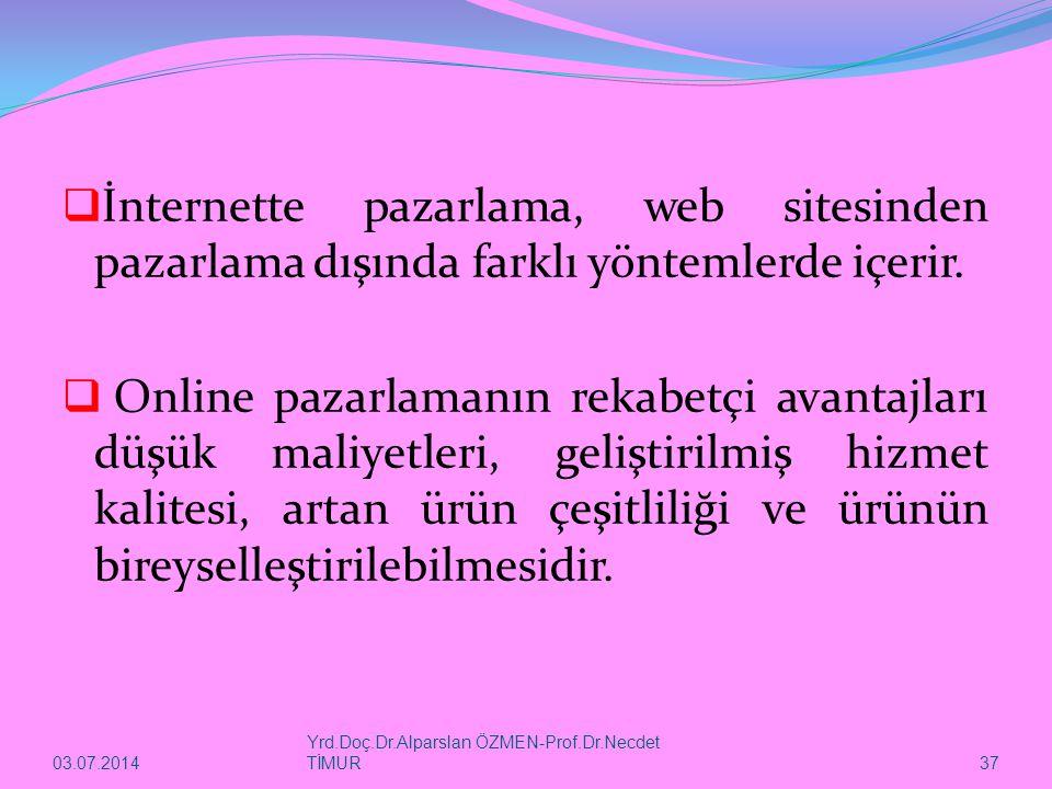 03.07.2014 Yrd.Doç.Dr.Alparslan ÖZMEN-Prof.Dr.Necdet TİMUR 37  İnternette pazarlama, web sitesinden pazarlama dışında farklı yöntemlerde içerir.  On