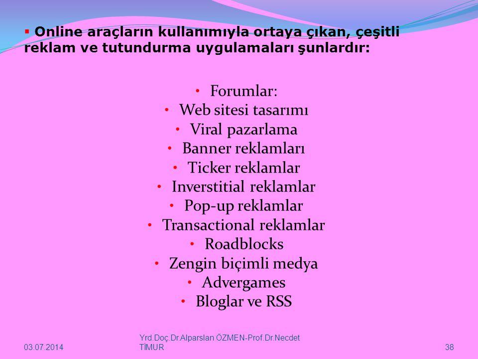 03.07.2014 Yrd.Doç.Dr.Alparslan ÖZMEN-Prof.Dr.Necdet TİMUR 38  Online araçların kullanımıyla ortaya çıkan, çeşitli reklam ve tutundurma uygulamaları