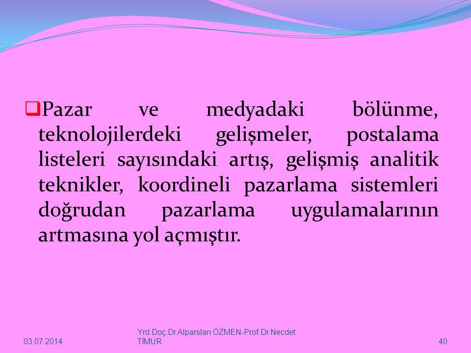 03.07.2014 Yrd.Doç.Dr.Alparslan ÖZMEN-Prof.Dr.Necdet TİMUR 40  Pazar ve medyadaki bölünme, teknolojilerdeki gelişmeler, postalama listeleri sayısında