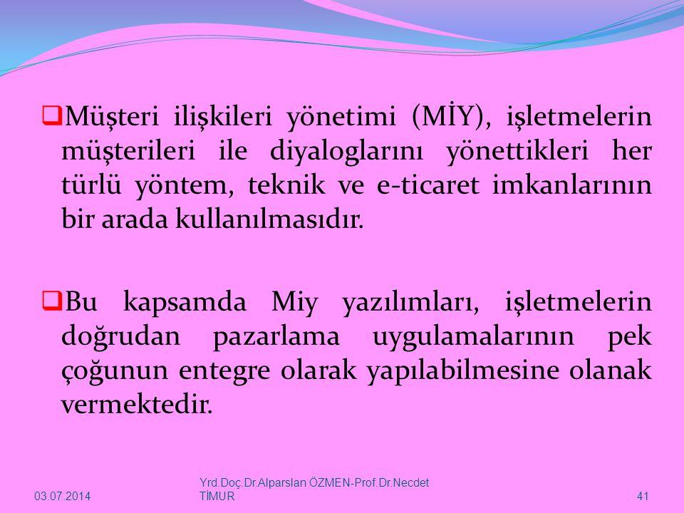 03.07.2014 Yrd.Doç.Dr.Alparslan ÖZMEN-Prof.Dr.Necdet TİMUR 41  Müşteri ilişkileri yönetimi (MİY), işletmelerin müşterileri ile diyaloglarını yönettik