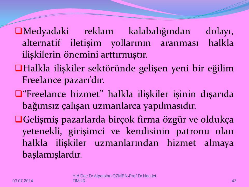03.07.2014 Yrd.Doç.Dr.Alparslan ÖZMEN-Prof.Dr.Necdet TİMUR 43  Medyadaki reklam kalabalığından dolayı, alternatif iletişim yollarının aranması halkla ilişkilerin önemini arttırmıştır.