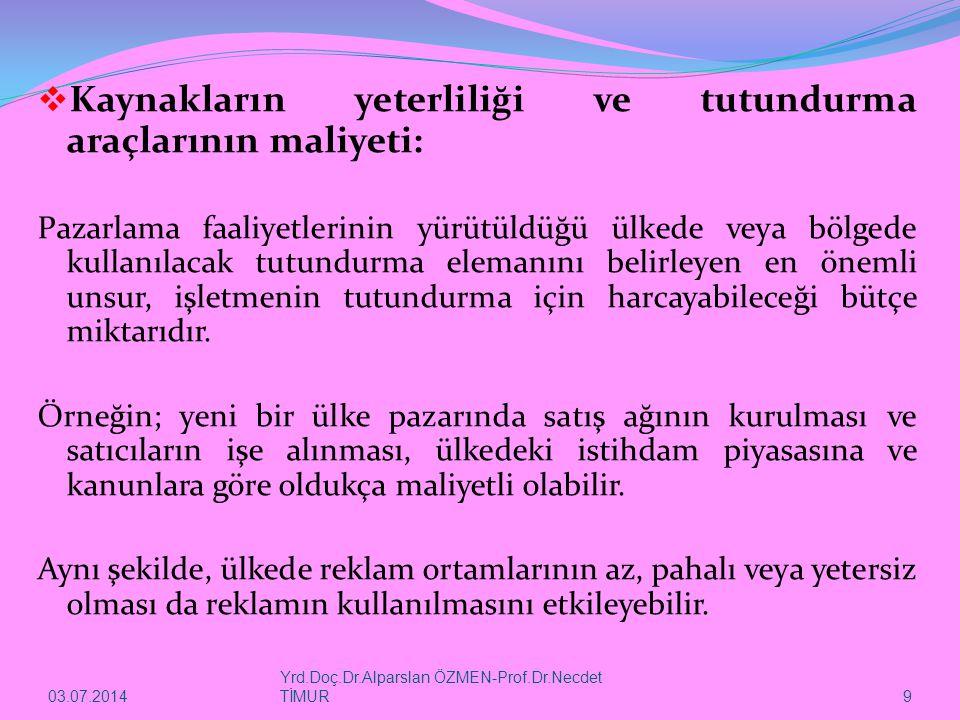 03.07.2014 Yrd.Doç.Dr.Alparslan ÖZMEN-Prof.Dr.Necdet TİMUR 9  Kaynakların yeterliliği ve tutundurma araçlarının maliyeti: Pazarlama faaliyetlerinin y