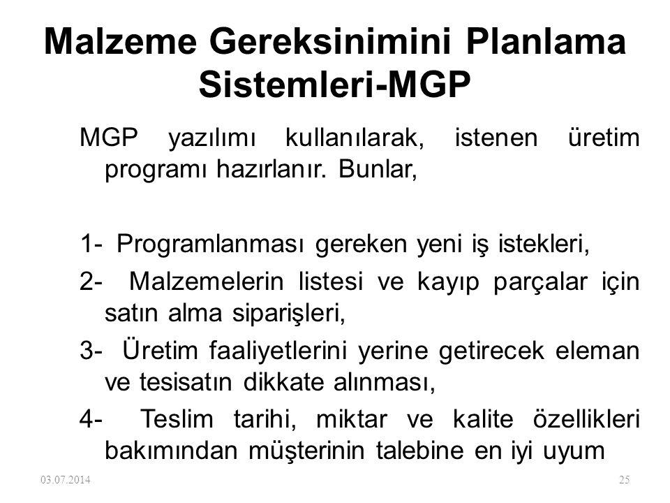 Malzeme Gereksinimini Planlama Sistemleri-MGP •MGP sistemi bütün üretim işlemi boyunca yapılan her işi izlemek için kullanılır. İş talebinden başlar,