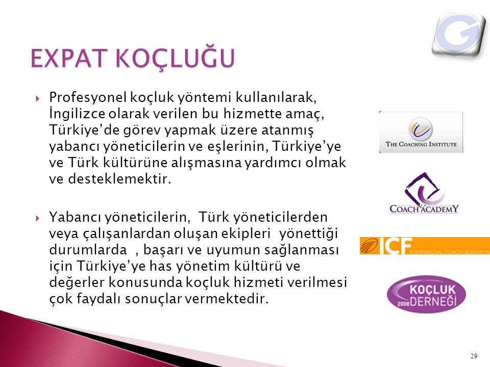  Profesyonel koçluk yöntemi kullanılarak, İngilizce olarak verilen bu hizmette amaç, Türkiye'de görev yapmak üzere atanmış yabancı yöneticilerin ve e