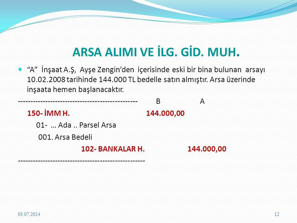 SATIN ALINAN ARSANIN MALİYETİ  VUK 270.
