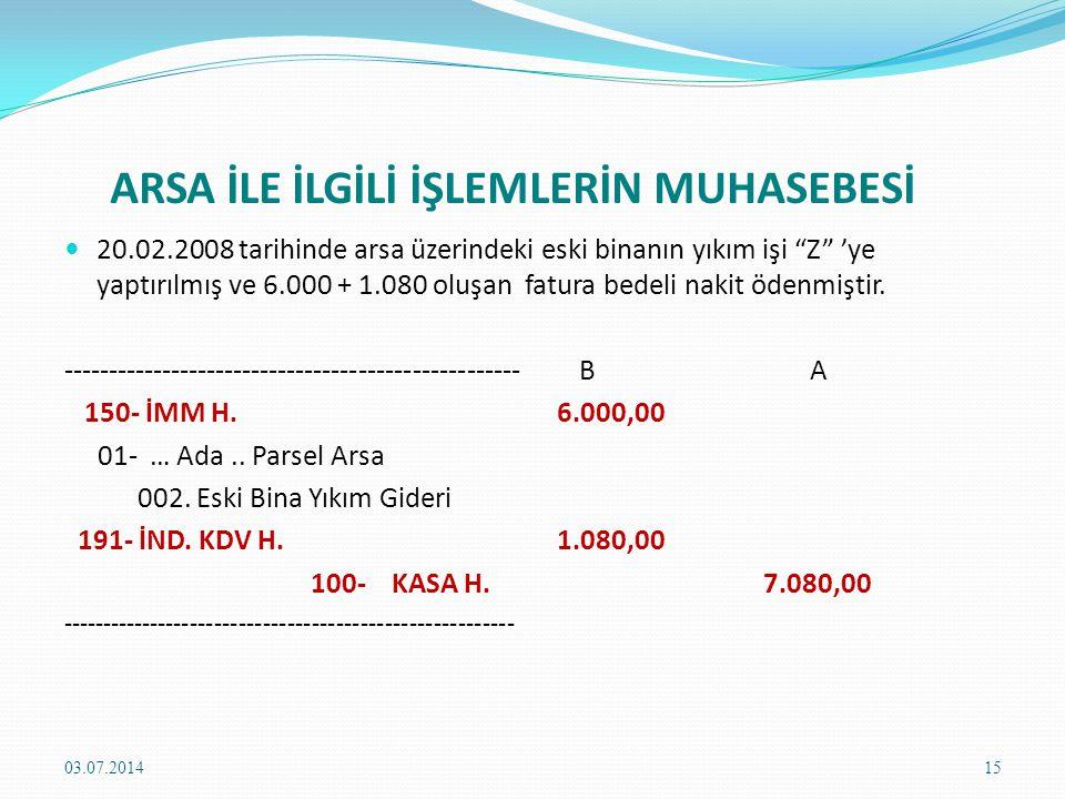 ARSA İLE İLGİLİ İŞLEMLERİN MUHASEBESİ  20.02.2008 tarihinde arsa üzerindeki eski binanın yıkım işi Z 'ye yaptırılmış ve 6.000 + 1.080 oluşan fatura bedeli nakit ödenmiştir.