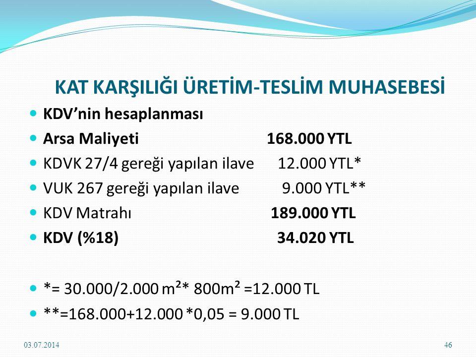 KAT KARŞILIĞI ÜRETİM-TESLİM MUHASEBESİ 102.BANKALAR H.