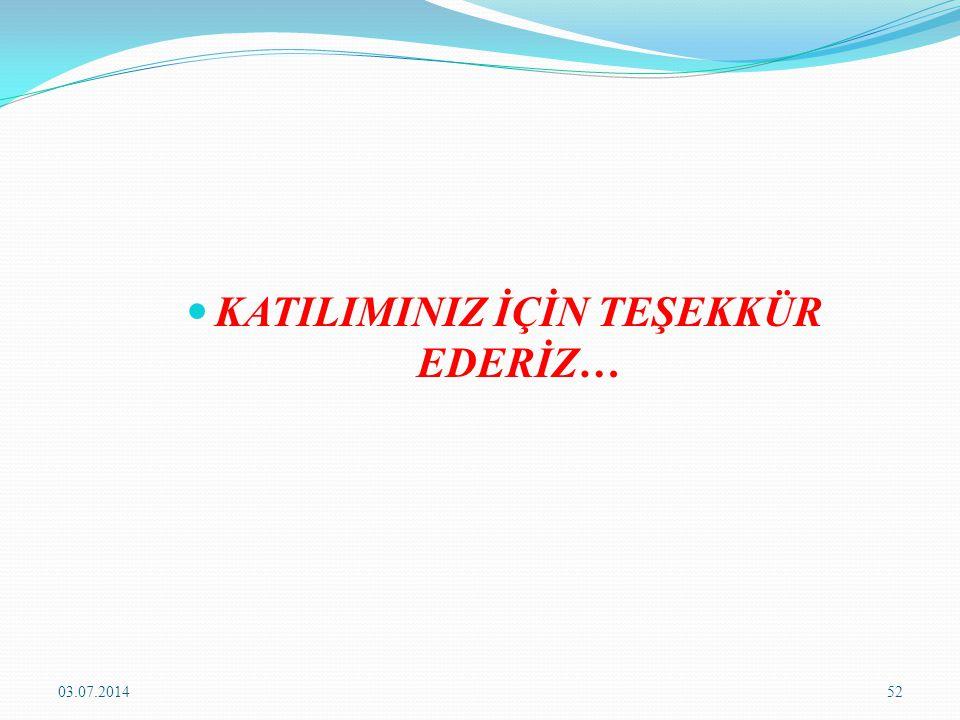  KATILIMINIZ İÇİN TEŞEKKÜR EDERİZ… 03.07.201452