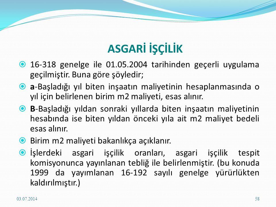 ASGARİ İŞÇİLİK  16-318 genelge ile 01.05.2004 tarihinden geçerli uygulama geçilmiştir.
