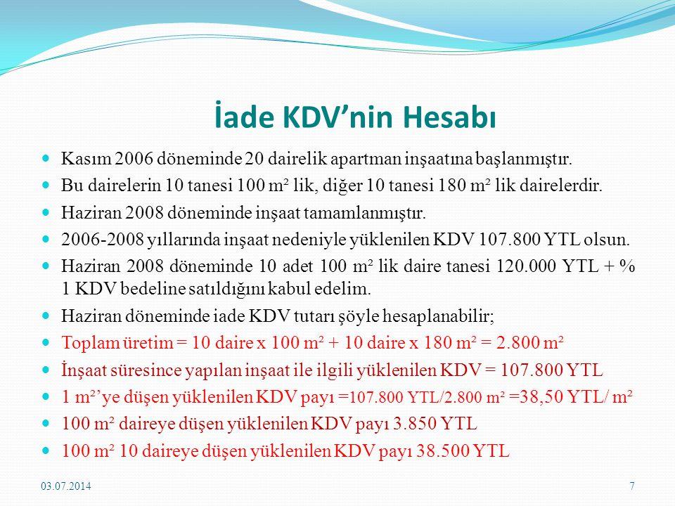 İade KDV'nin Hesabı  Haziran 2008 dönemi;  Satış tutarı = 1.200.000 + 12.000 YTL = 1.232.000 YTL  Tahsil Edilen KDV 12.000 YTL  İndirimli Orana Tabi Dairelere Düşen KDV yükü = 38.500 YTL  İade Söz Konusu Olabilecek KDV = 38.500 – 12.000 = 26.500 YTL  Devreden KDV = 107.800 – 12.000 = 95.800 YTL  İade Alınabilecek KDV Tutarı = 26.500 YTL 03.07.20148