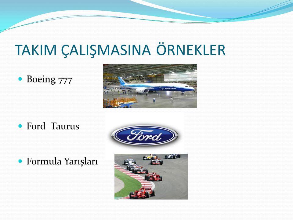 TAKIM ÇALIŞMASINA ÖRNEKLER  Boeing 777  Ford Taurus  Formula Yarışları