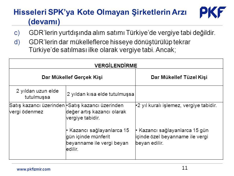 c)GDR'lerin yurtdışında alım satımı Türkiye'de vergiye tabi değildir.