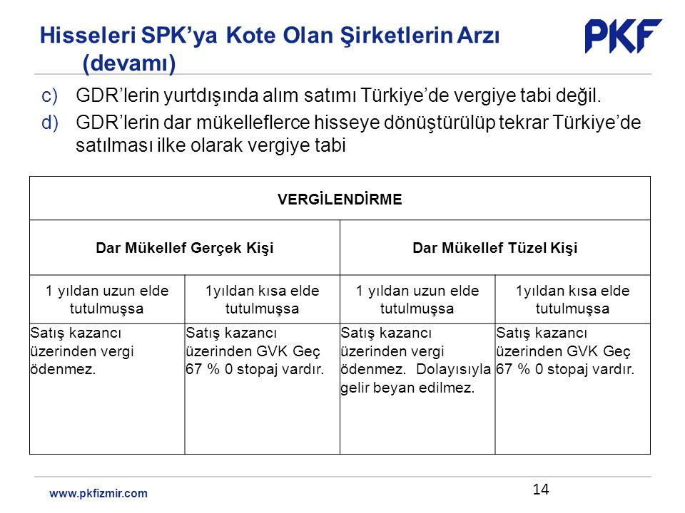 c)GDR'lerin yurtdışında alım satımı Türkiye'de vergiye tabi değil.
