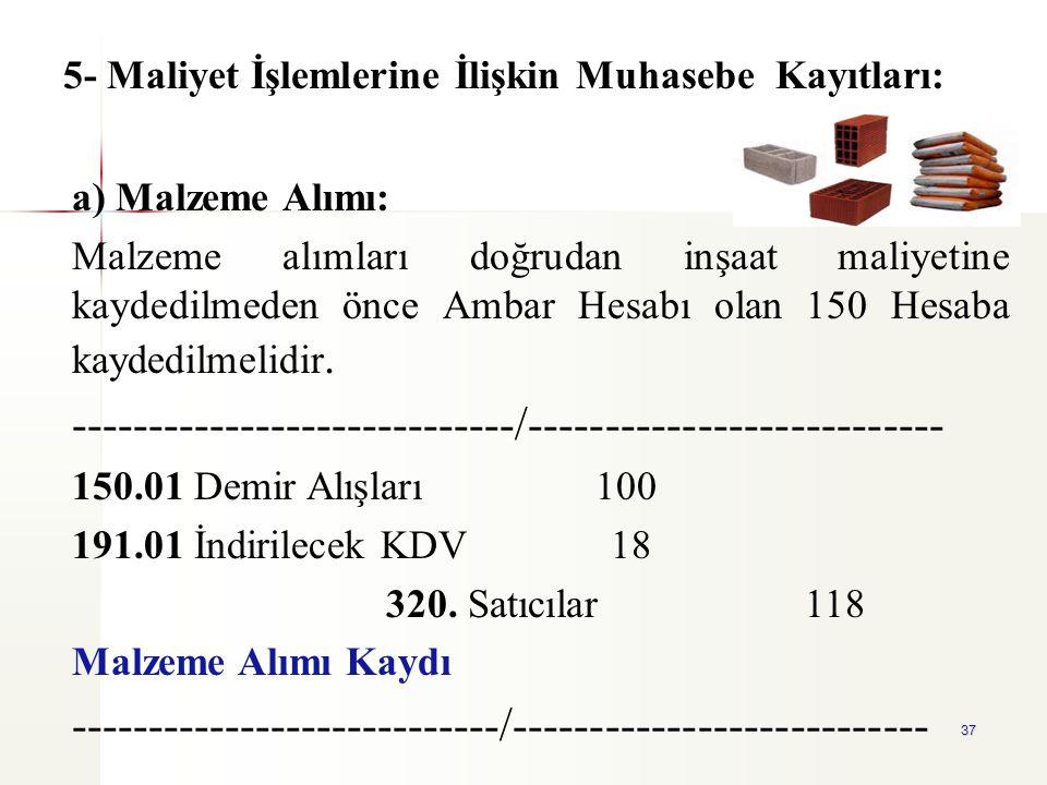 37 5- Maliyet İşlemlerine İlişkin Muhasebe Kayıtları: a) Malzeme Alımı: Malzeme alımları doğrudan inşaat maliyetine kaydedilmeden önce Ambar Hesabı ol