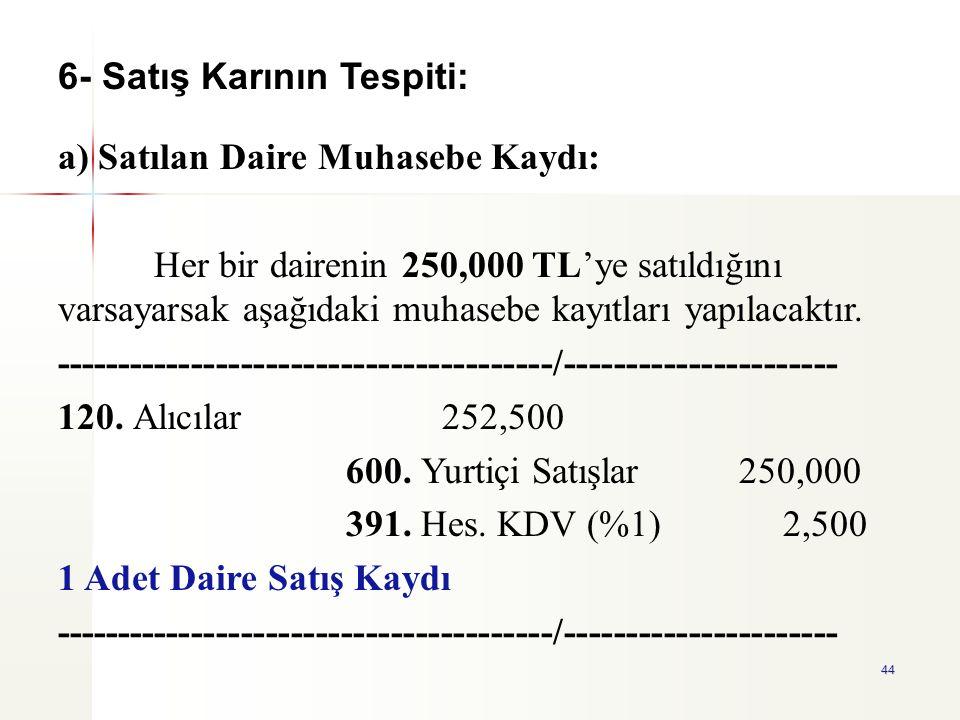 44 a) Satılan Daire Muhasebe Kaydı: Her bir dairenin 250,000 TL'ye satıldığını varsayarsak aşağıdaki muhasebe kayıtları yapılacaktır. ----------------