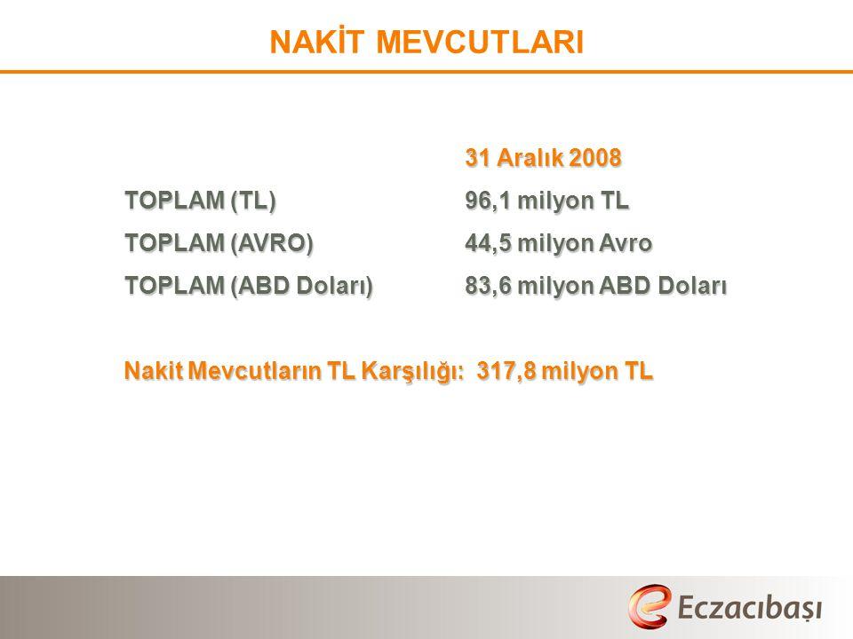 NAKİT MEVCUTLARI 31 Aralık 2008 TOPLAM (TL)96,1 milyon TL TOPLAM (AVRO)44,5 milyon Avro TOPLAM (ABD Doları)83,6 milyon ABD Doları Nakit Mevcutların TL Karşılığı: 317,8 milyon TL