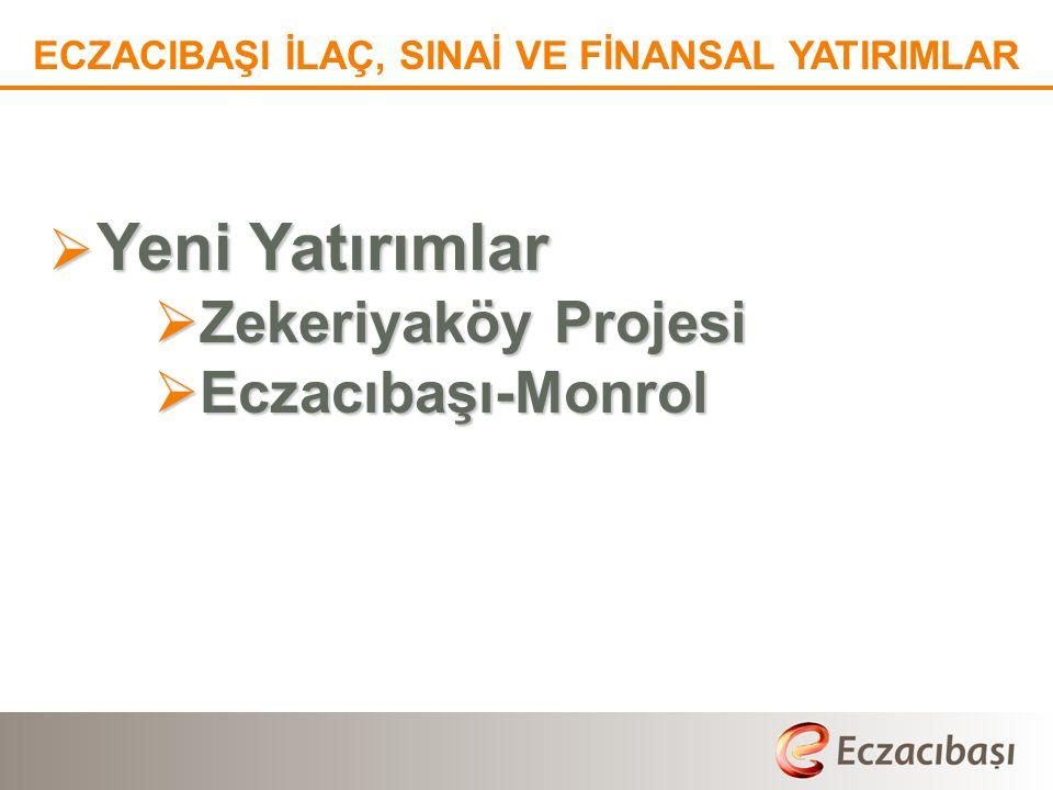  Yeni Yatırımlar  Zekeriyaköy Projesi  Eczacıbaşı-Monrol ECZACIBAŞI İLAÇ, SINAİ VE FİNANSAL YATIRIMLAR
