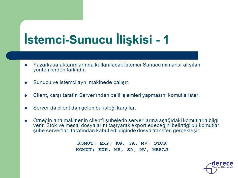 İstemci-Sunucu İlişkisi - 1  Yazarkasa aktarımlarında kullanılacak İstemci-Sunucu mimarisi alışılan yöntemlerden farklıdır.  Sunucu ve istemci aynı