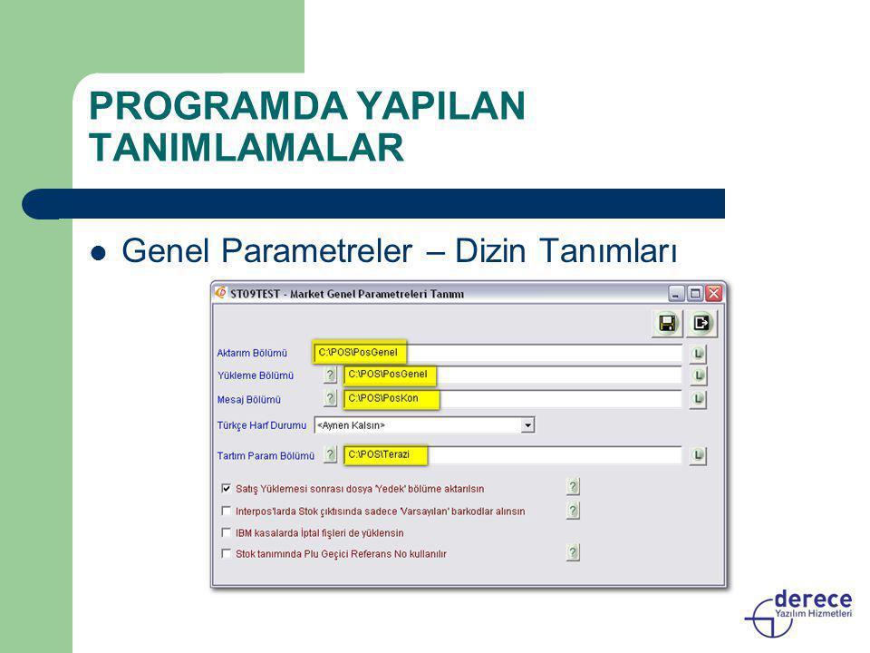 PROGRAMDA YAPILAN TANIMLAMALAR  Genel Parametreler – Dizin Tanımları
