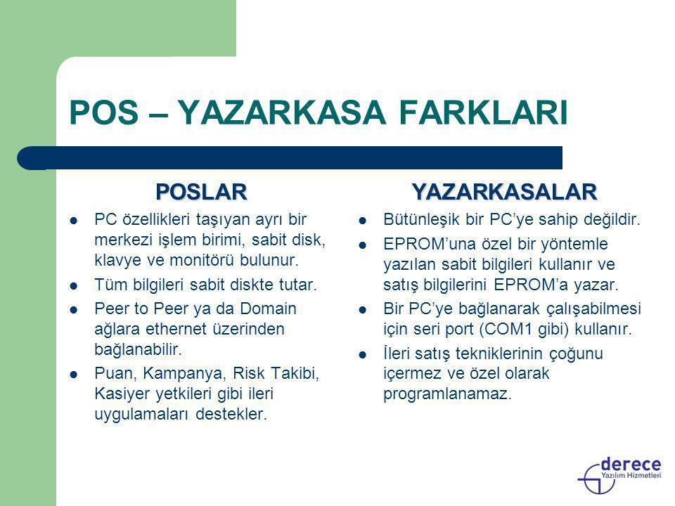 POS – YAZARKASA FARKLARI POSLAR  PC özellikleri taşıyan ayrı bir merkezi işlem birimi, sabit disk, klavye ve monitörü bulunur.  Tüm bilgileri sabit