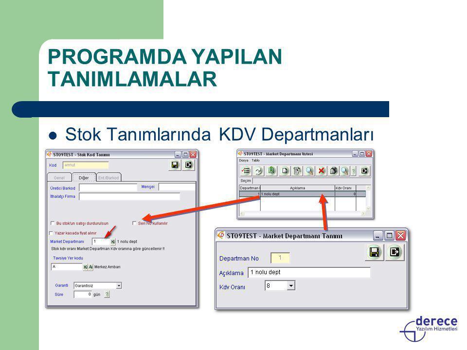 PROGRAMDA YAPILAN TANIMLAMALAR  Stok Tanımlarında KDV Departmanları
