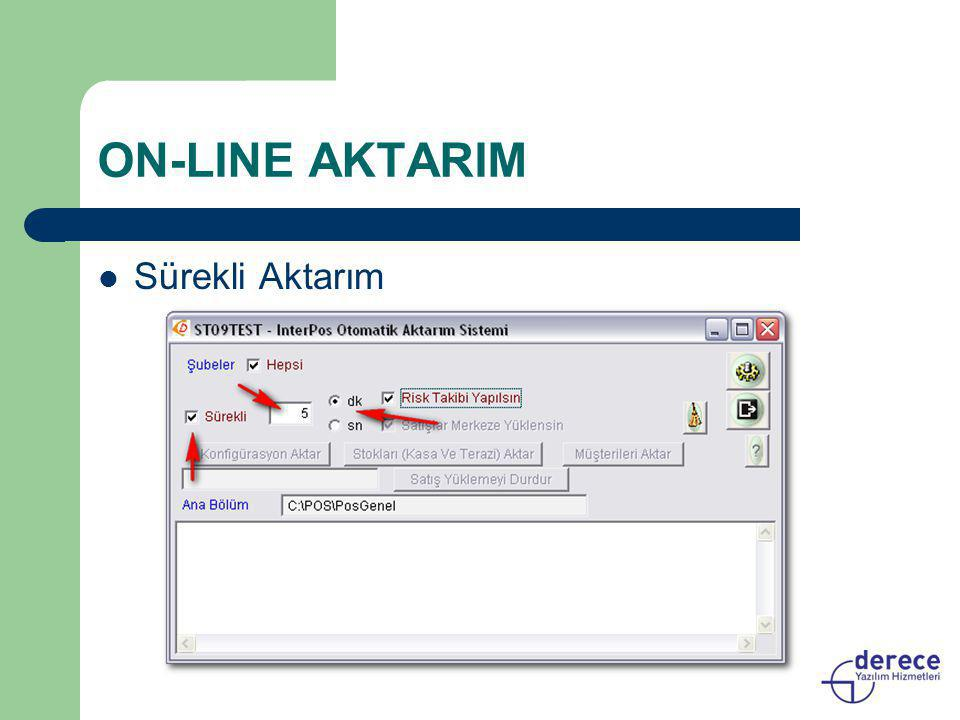 ON-LINE AKTARIM  Sürekli Aktarım
