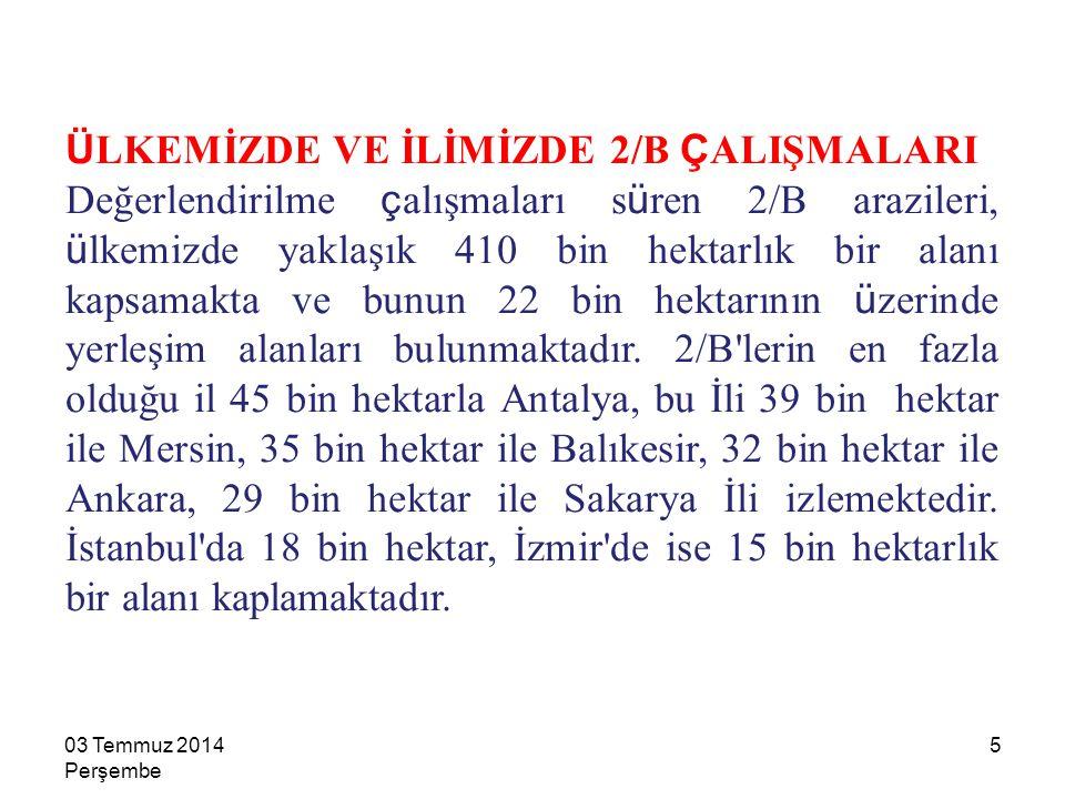 16 BELEDİYE VE MÜCAVİR ALAN SINIRLARI İÇİNDE İKİ BİN TL BELEDİYE VE MÜCAVİR ALAN SINIRLARI DIŞINDA BİN TL BAŞVURU BEDELİ 1603 Temmuz 2014 Perşembe