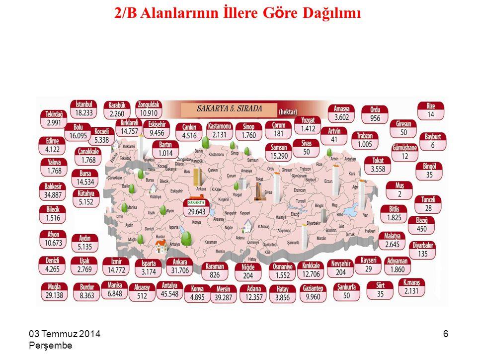 7 2/B ALANLARININ FİİLİ KULLANIM DURUMU KULLANIM ŞEKLİMİKTAR (Ha.)ORAN (%) Köy yerleşim alanı7.0351,7 Belde yerleşim alanı8.5142 İlçe yerleşim alanı6.6241,6 Sera alanı2.3650,6 Narenciye alanı8.0411,9 Zeytinlik, fıstıklık, bağ, bahçe111.11527 Otlak, yaylak, kışlak35.4198,6 Diğer ekili alanlar230.88756,3 Toplam (Yaklaşık)410.000100 03 Temmuz 2014 Perşembe 7
