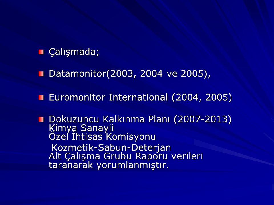 Çalışmada; Datamonitor(2003, 2004 ve 2005), Euromonitor International (2004, 2005) Dokuzuncu Kalkınma Planı (2007-2013) Kimya Sanayii Özel İhtisas Komisyonu Kozmetik-Sabun-Deterjan Alt Çalışma Grubu Raporu verileri taranarak yorumlanmıştır.