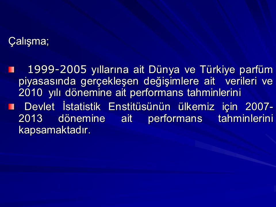 Çalışma; 1999-2005 yıllarına ait Dünya ve Türkiye parfüm piyasasında gerçekleşen değişimlere ait verileri ve 2010 yılı dönemine ait performans tahminlerini 1999-2005 yıllarına ait Dünya ve Türkiye parfüm piyasasında gerçekleşen değişimlere ait verileri ve 2010 yılı dönemine ait performans tahminlerini Devlet İstatistik Enstitüsünün ülkemiz için 2007- 2013 dönemine ait performans tahminlerini kapsamaktadır.