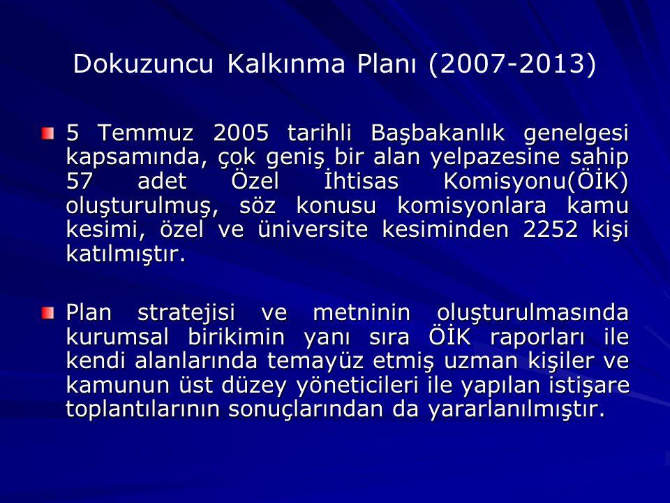 Dokuzuncu Kalkınma Planı (2007-2013) 5 Temmuz 2005 tarihli Başbakanlık genelgesi kapsamında, çok geniş bir alan yelpazesine sahip 57 adet Özel İhtisas Komisyonu(ÖİK) oluşturulmuş, söz konusu komisyonlara kamu kesimi, özel ve üniversite kesiminden 2252 kişi katılmıştır.