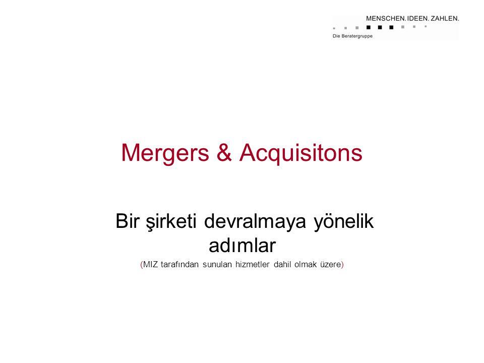 Mergers & Acquisitons Bir şirketi devralmaya yönelik adımlar (MIZ tarafından sunulan hizmetler dahil olmak üzere)
