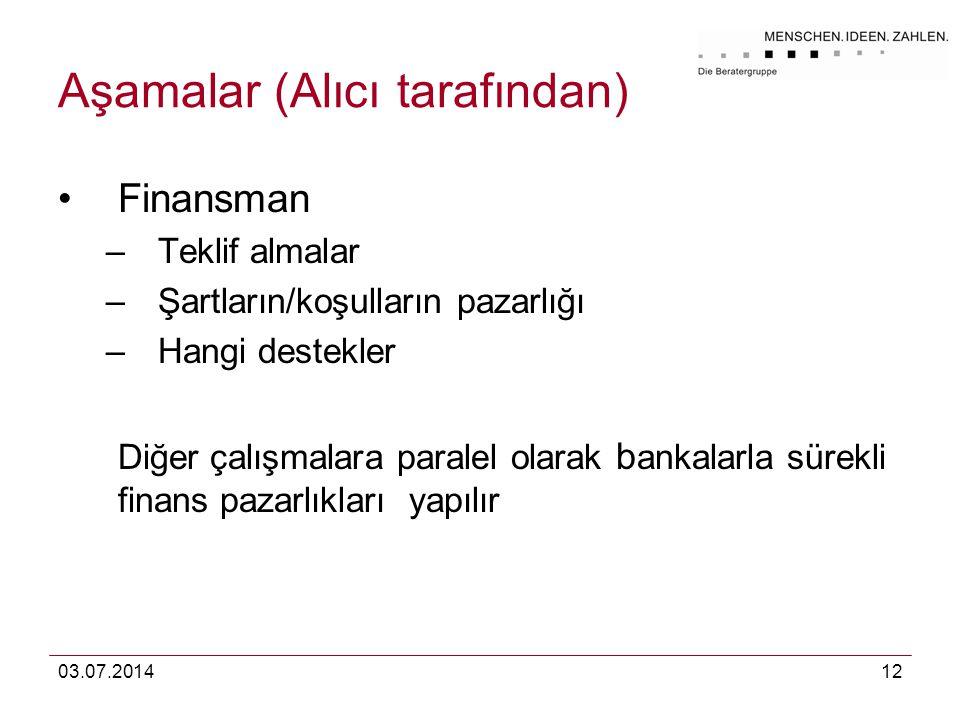 03.07.201412 Aşamalar (Alıcı tarafından) •Finansman –Teklif almalar –Şartların/koşulların pazarlığı –Hangi destekler Diğer çalışmalara paralel olarak