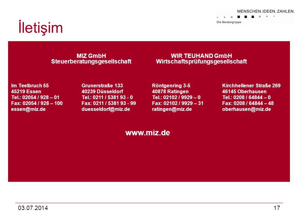03.07.201417 İletişim MIZ GmbH Steuerberatungsgesellschaft WIR TEUHAND GmbH Wirtschaftsprüfungsgesellschaft Im Teelbruch 55 45219 Essen Tel.: 02054 /