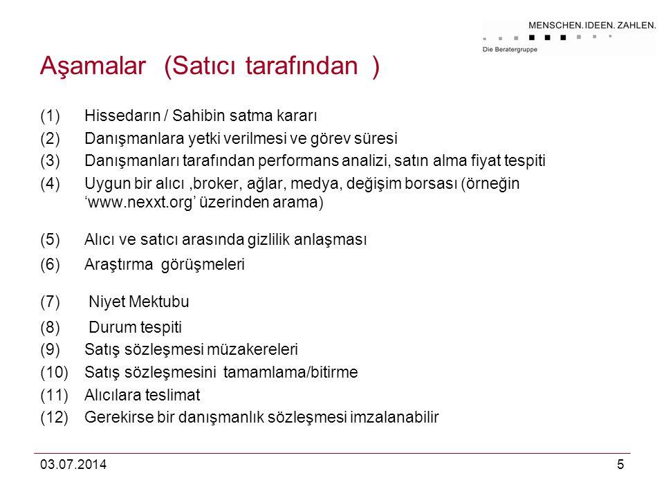 03.07.20145 Aşamalar (Satıcı tarafından ) (1)Hissedarın / Sahibin satma kararı (2)Danışmanlara yetki verilmesi ve görev süresi (3)Danışmanları tarafın