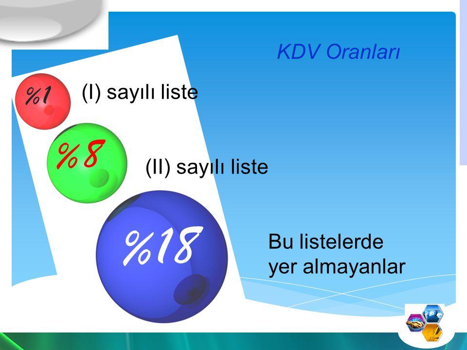%18 %8 %1 KDV Oranları (I) sayılı liste (II) sayılı liste Bu listelerde yer almayanlar