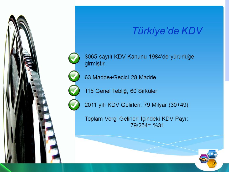 Verginin Konusunu Teşkil Eden İşlemler Türkiye'de ticarî, sınaî, ziraî faaliyet ve serbest meslek faaliyeti çerçevesinde yapılan teslim ve hizmetler (teslim ve hizmet Türkiye'de ise vergi var yurtdışındaysa yok) Her türlü mal ve hizmet ithalatı Diğer faaliyetlerden doğan teslim ve hizmetler:
