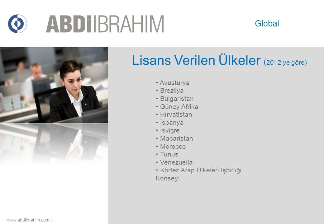 www.abdiibrahim.com.tr Global • Avusturya • Brezilya • Bulgaristan • Güney Afrika • Hırvatistan • İspanya • İsviçre • Macaristan • Morocco • Tunus • V