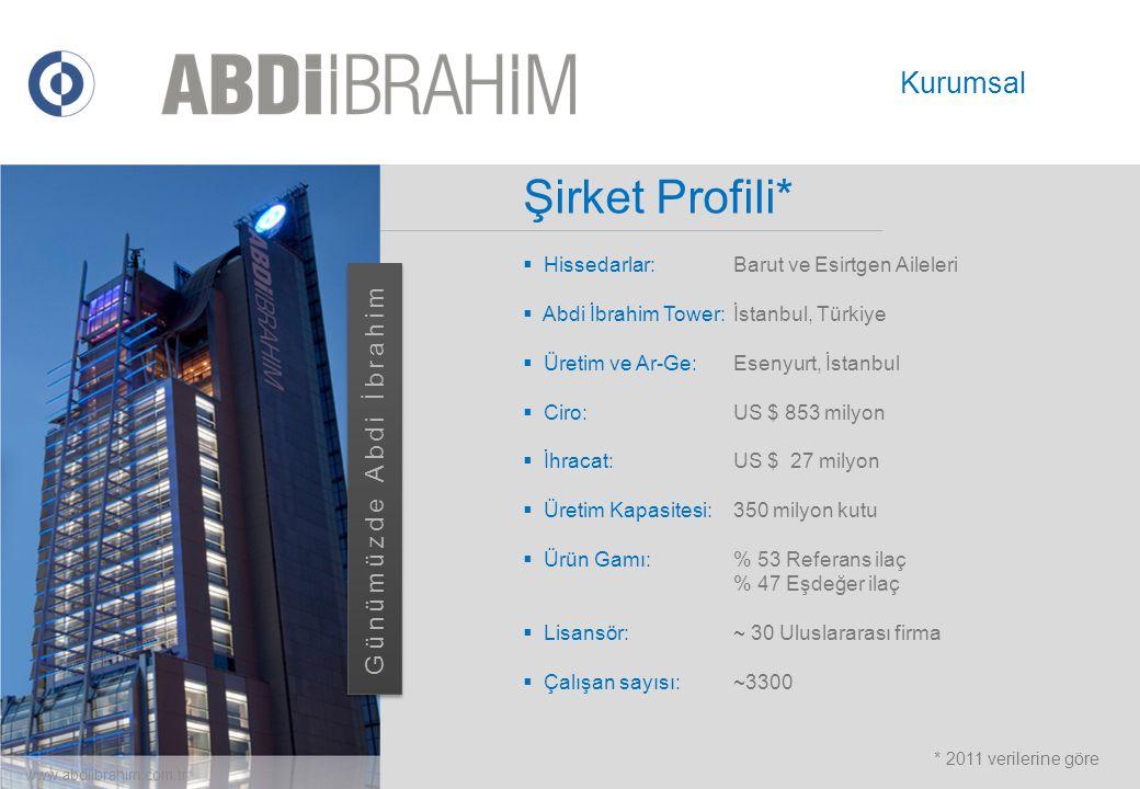 Şirket Profili*  Hissedarlar:Barut ve Esirtgen Aileleri  Abdi İbrahim Tower: İstanbul, Türkiye  Üretim ve Ar-Ge: Esenyurt, İstanbul  Ciro:US $ 853