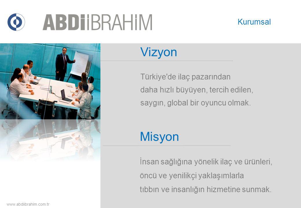 Vizyon Türkiye'de ilaç pazarından daha hızlı büyüyen, tercih edilen, saygın, global bir oyuncu olmak. www.abdiibrahim.com.tr Kurumsal Misyon İnsan sağ