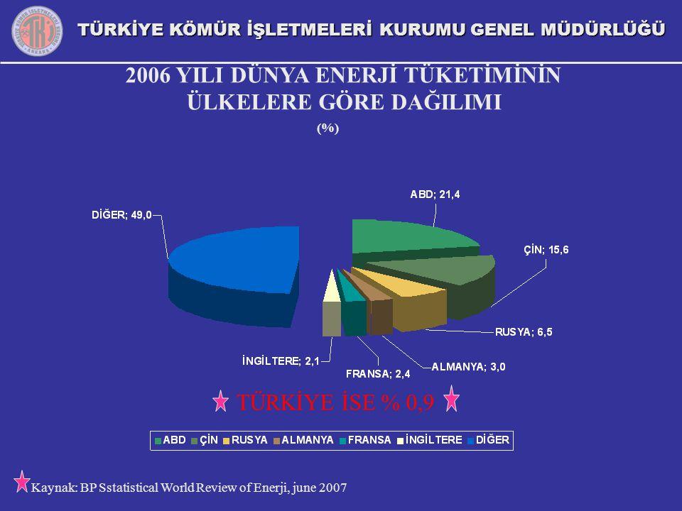 2006 YILI DÜNYA ENERJİ TÜKETİMİNİN ÜLKELERE GÖRE DAĞILIMI (%) TÜRKİYE İSE % 0,9 Kaynak: BP Sstatistical World Review of Enerji, june 2007