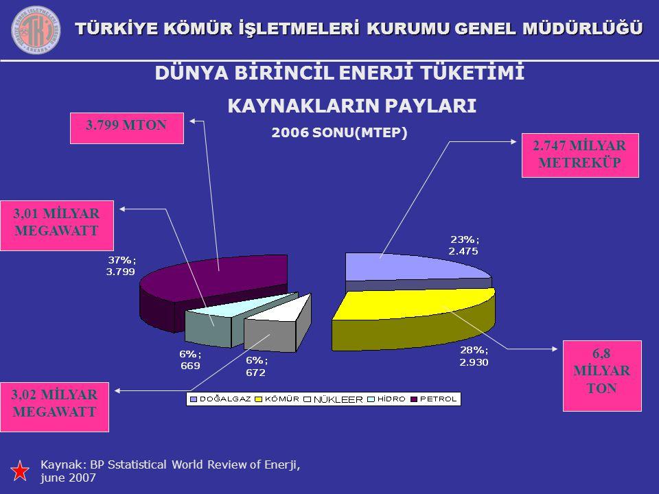 TÜRKİYE KÖMÜR İŞLETMELERİ KURUMU GENEL MÜDÜRLÜĞÜ DÜNYA BİRİNCİL ENERJİ TÜKETİMİ KAYNAKLARIN PAYLARI 2006 SONU(MTEP) Kaynak: BP Sstatistical World Revi