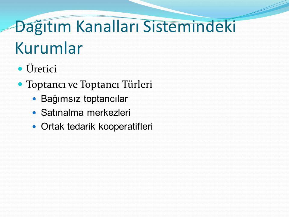 Dağıtım Kanalları Sistemindeki Kurumlar  Üretici  Toptancı ve Toptancı Türleri  Bağımsız toptancılar  Satınalma merkezleri  Ortak tedarik koopera