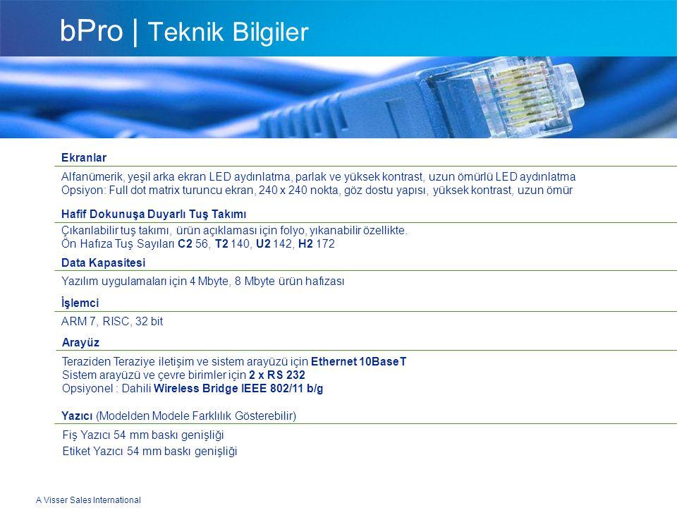 A Visser Sales International bPro | Teknik Bilgiler Ekranlar Alfanümerik, yeşil arka ekran LED aydınlatma, parlak ve yüksek kontrast, uzun ömürlü LED