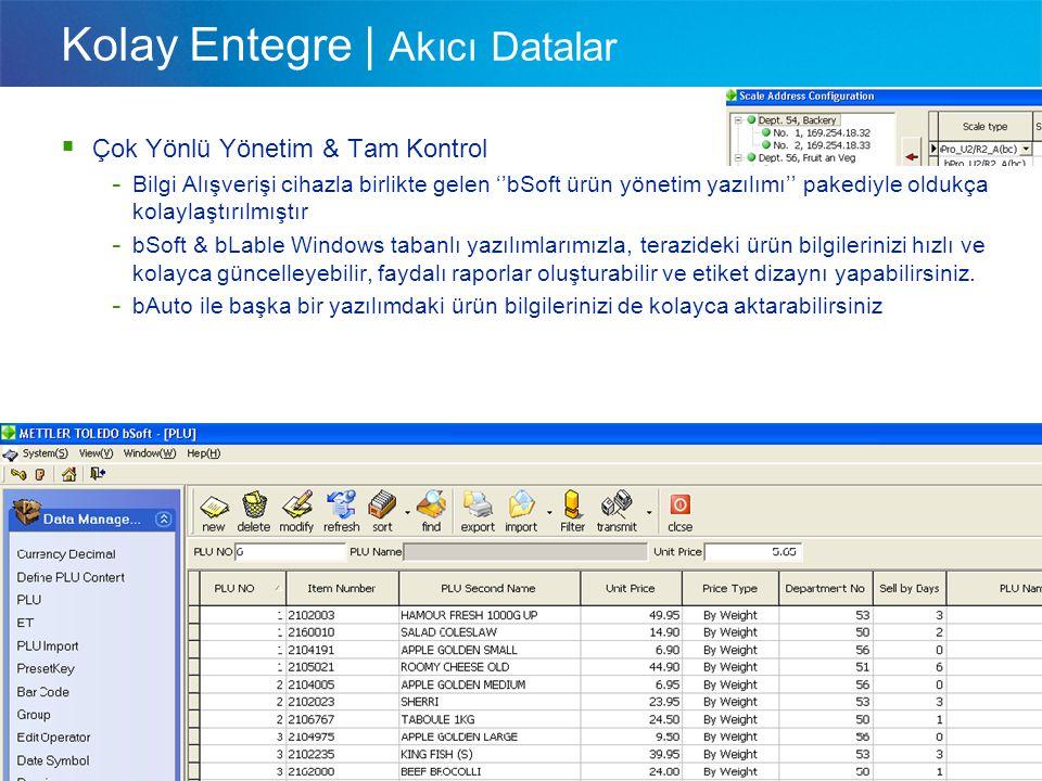 A Visser Sales International Kolay Entegre | Akıcı Datalar  Çok Yönlü Yönetim & Tam Kontrol - Bilgi Alışverişi cihazla birlikte gelen ''bSoft ürün yö