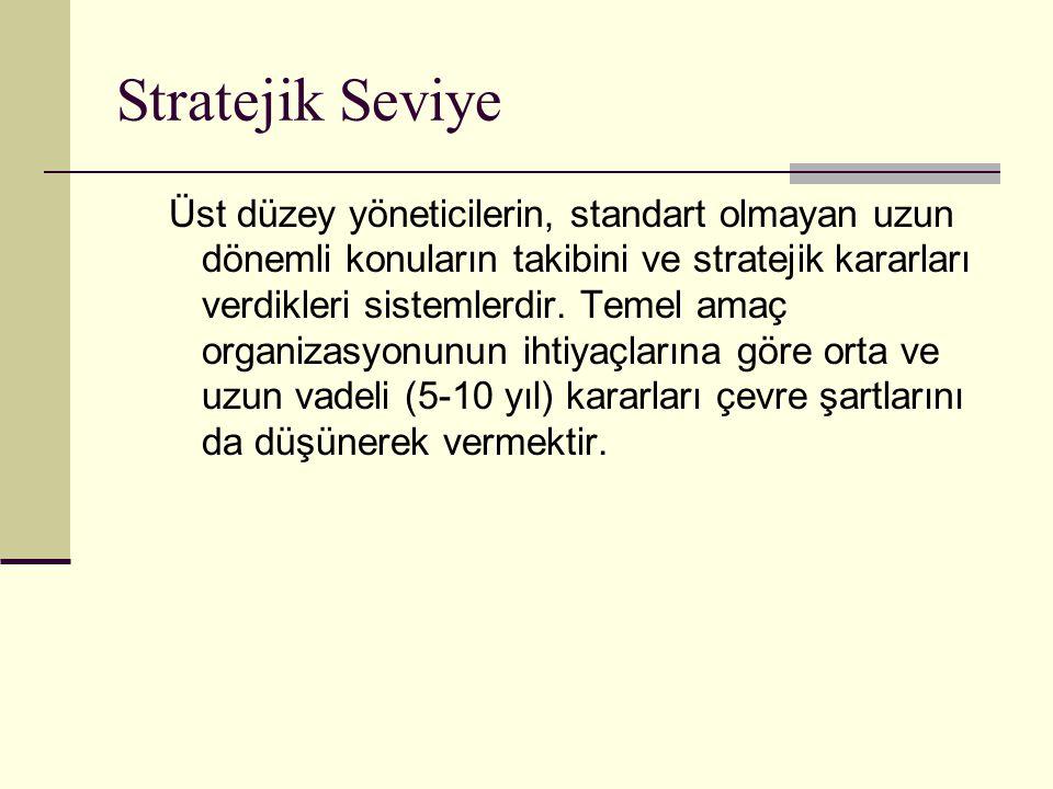 Stratejik Seviye Üst düzey yöneticilerin, standart olmayan uzun dönemli konuların takibini ve stratejik kararları verdikleri sistemlerdir. Temel amaç